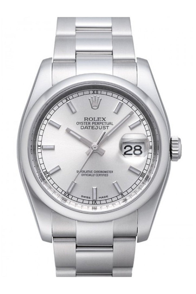 Rolex Datejust 36 Silver Index Dial Steel Mens Watch 116200 / None