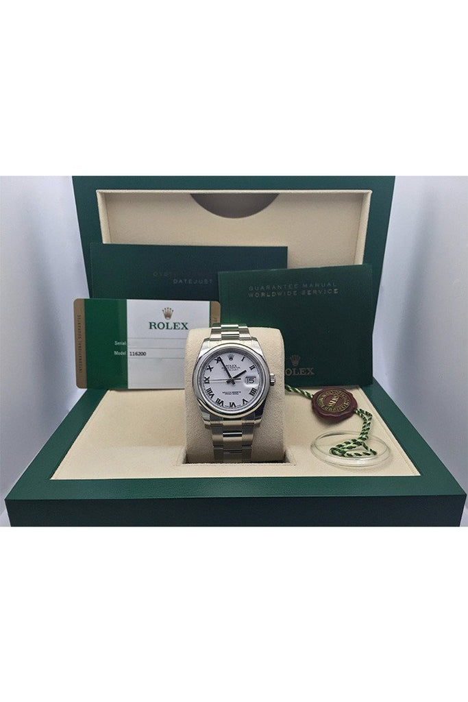 ROLEX Datejust 36 White Roman Dial Steel Mens Watch 116200 sale box