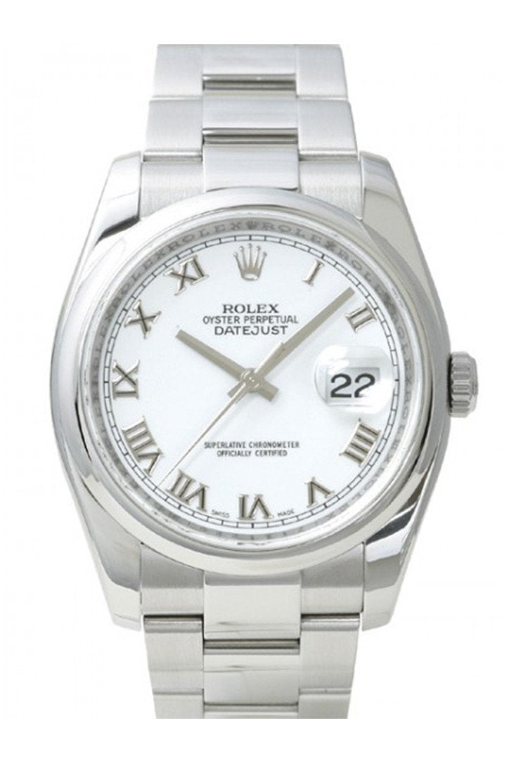 Rolex Datejust 36 White Roman Dial Steel Mens Watch 116200 / None