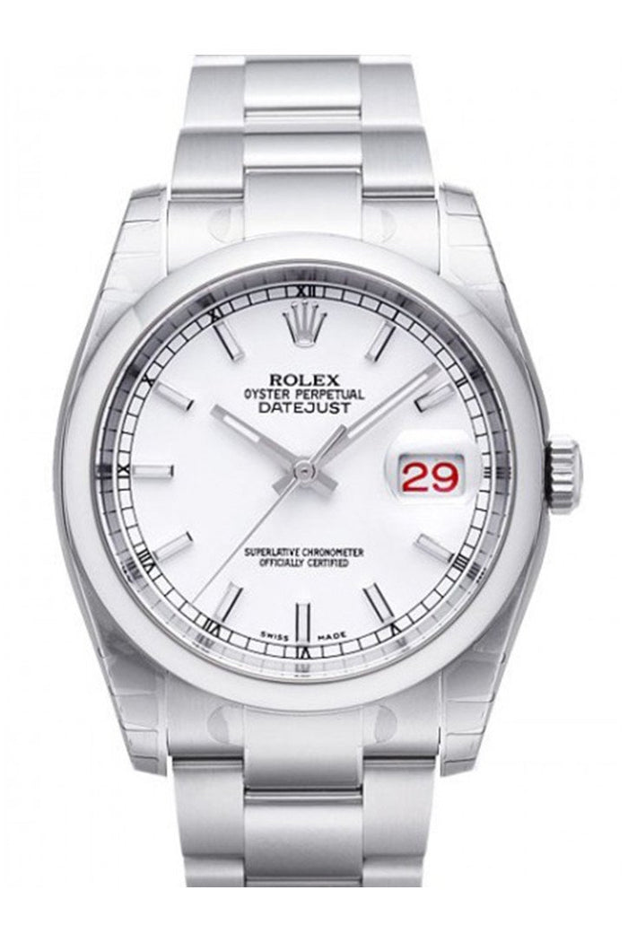 ROLEX 116200 Datejust 36 White Dial Steel Watch | WatchGuyNYC