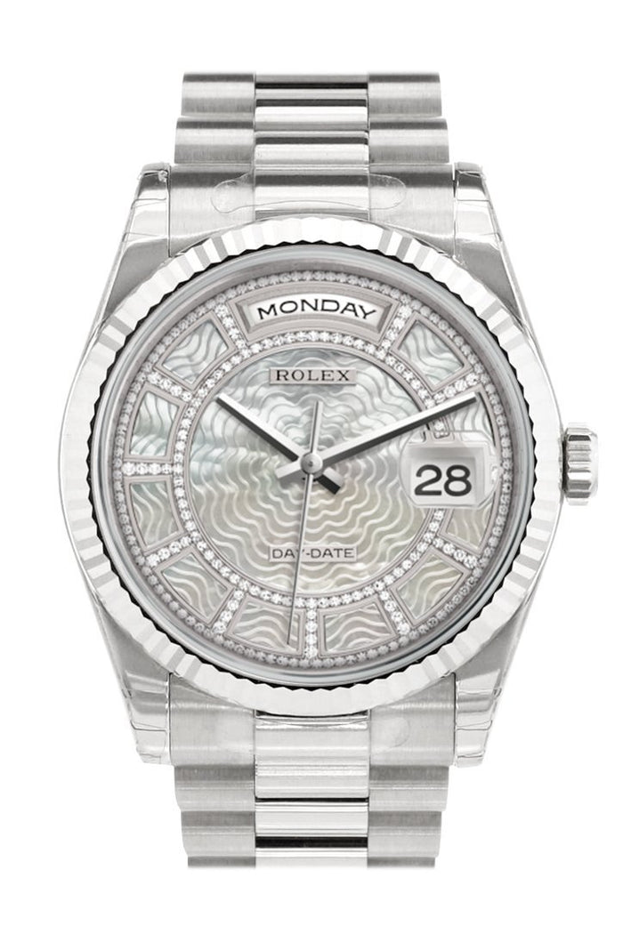 Rolex Day-Date 36 Carousel of white mother-of-pearl Dial Fluted Bezel President White Gold Watch 118239
