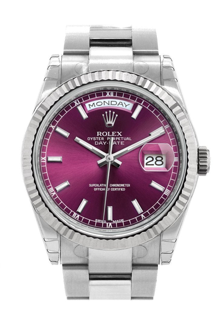 Rolex Day-Date 36 Cherry Dial Fluted Bezel Oyster White Gold Watch 118239