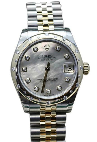 ROLEX178343 Datejust 31 White mother-of-pearl set with Diamond Dial 18k Yellow Gold Diamonds Ladies Watch