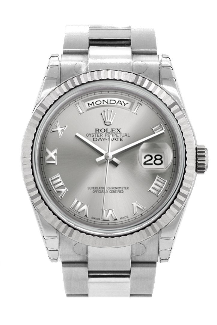 Rolex Day-Date 36 Rhodium Roman Dial Fluted Bezel Oyster White Gold Watch 118239