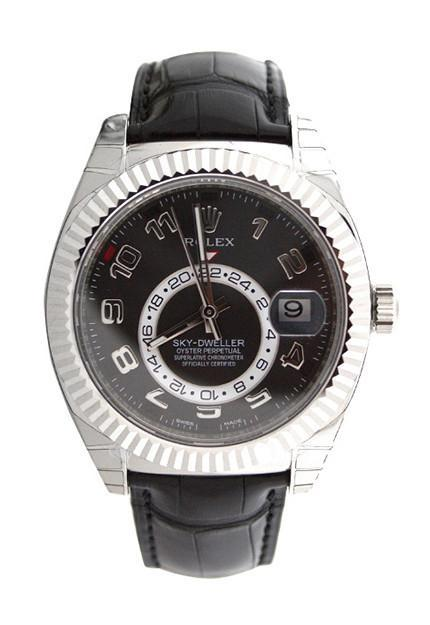 Rolex Sky-Dweller 42 Black Arab Dial 18K White Gold Mens Watch 326139