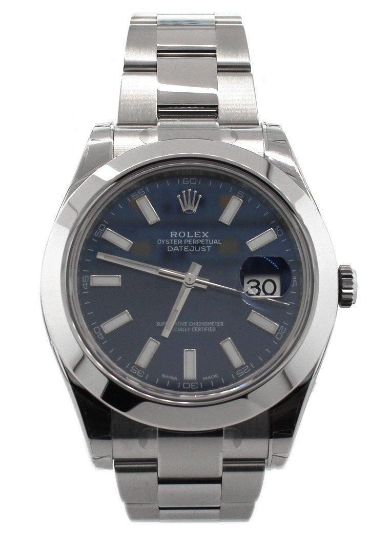 Rolex Datejust Ii 41 Blue Dial Index Steel Mens Watch 116300