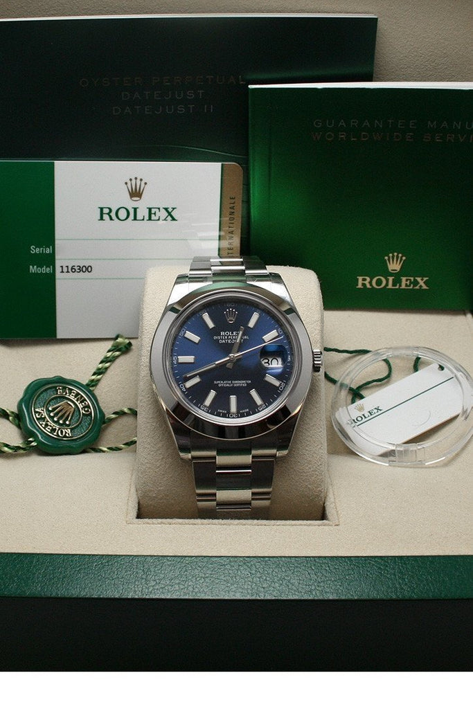 ROLEX 116300 Datejust II 41 Blue Dial Index Dial Steel Men's Watch | WatchGuyNYC