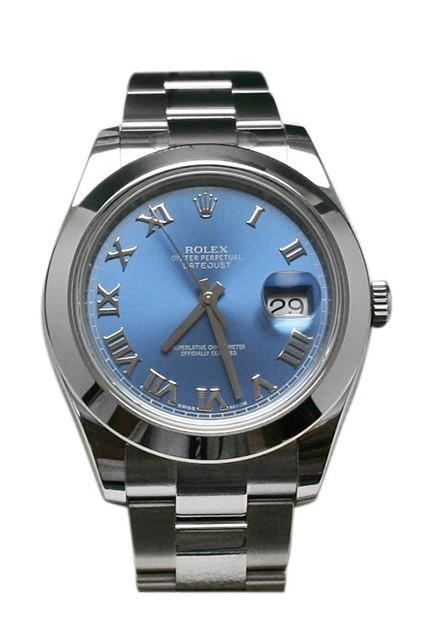 Rolex Datejust Ii 41 Blue Azzurro Roman Dial Steel Mens Watch 116300