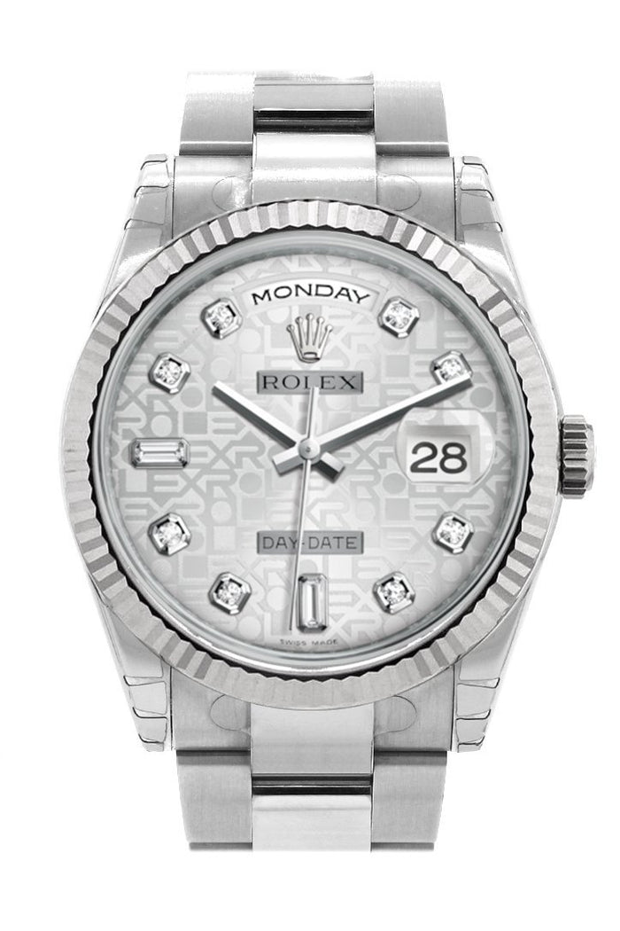 Rolex Day-Date 36 Silver Jubilee design set with Diamonds Dial Fluted Bezel Oyster White Gold Watch 118239