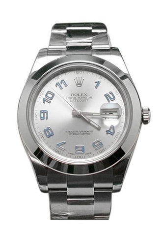 ROLEX 116300 Datejust II 41 Rhodium Blue Arab Dial Steel Men's Watch | WatchGuyNYC