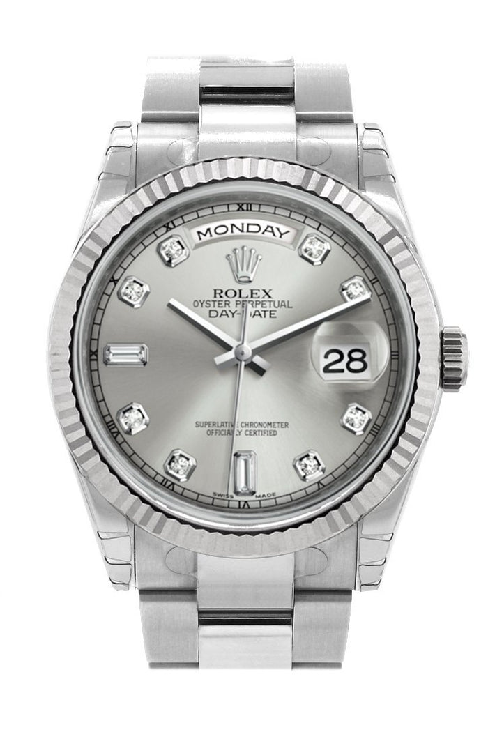 Rolex Day-Date 36 Silver set with Diamonds Dial Fluted Bezel Oyster White Gold Watch 118239