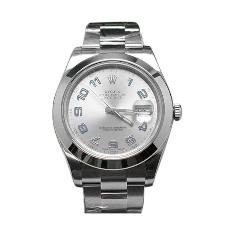 Rolex Datejust Ii 41 Rhodium Blue Arab Dial Steel Mens Watch 116300