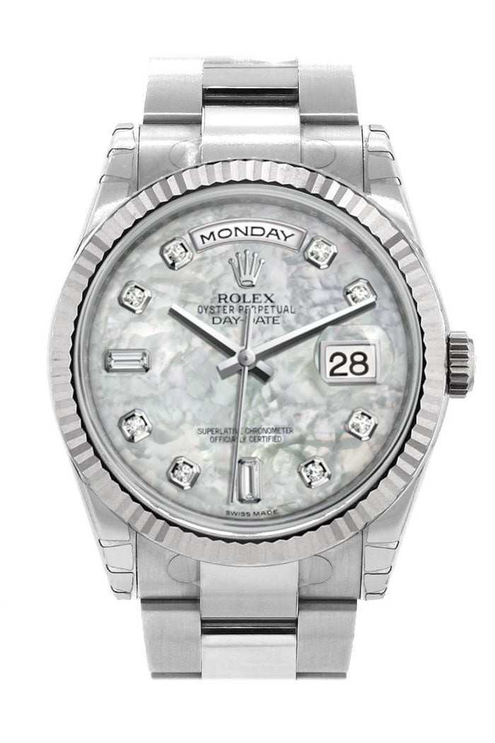 Rolex Day-Date 36 White mother-of-pearl set with Diamonds Dial Fluted Bezel Oyster White Gold Watch 118239