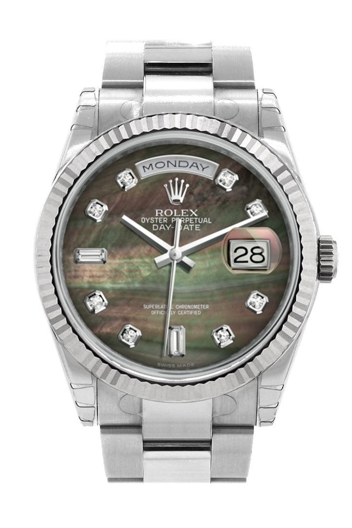 Rolex Day-Date 36 Black mother-of-pearl set with Diamonds Dial Fluted Bezel Oyster White Gold Watch 118239