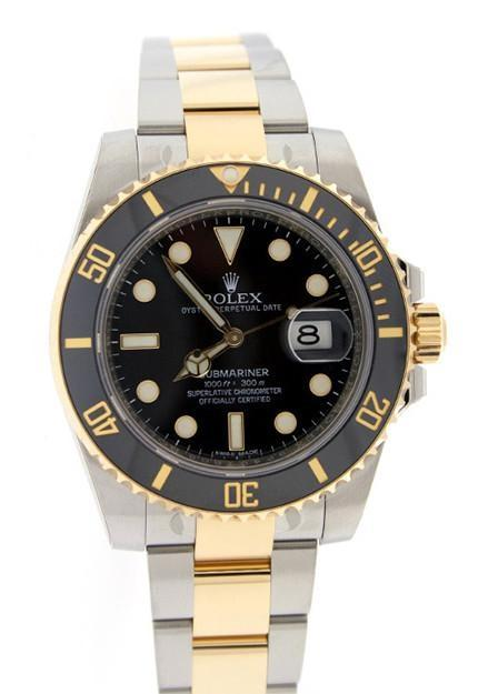 ROLEX 116613 Submariner Date 40 Black Dial 18k Yellow Gold and Steel Men's Watch