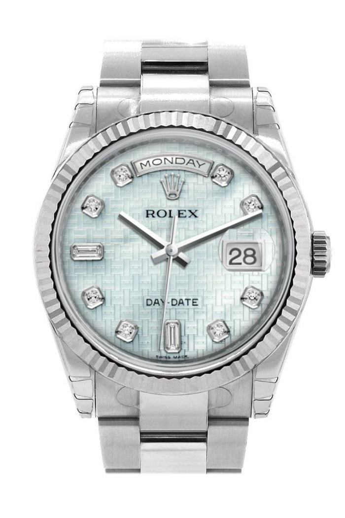 Rolex Day-Date 36 Platinum mother-of-pearl with oxford motif set with Diamonds Dial Fluted Bezel Oyster White Gold Watch 118239