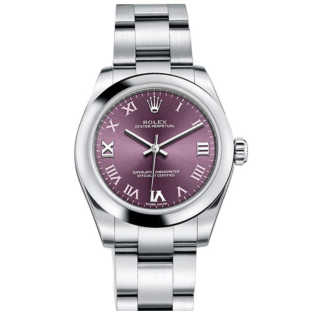 rolex steel watches grape ladies watchguynyc oyster products red watch sample perpetual roman dial