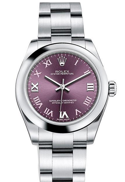 ROLEX 177200 Oyster Perpetual 31 Red Grape Roman Dial Ladies Watch