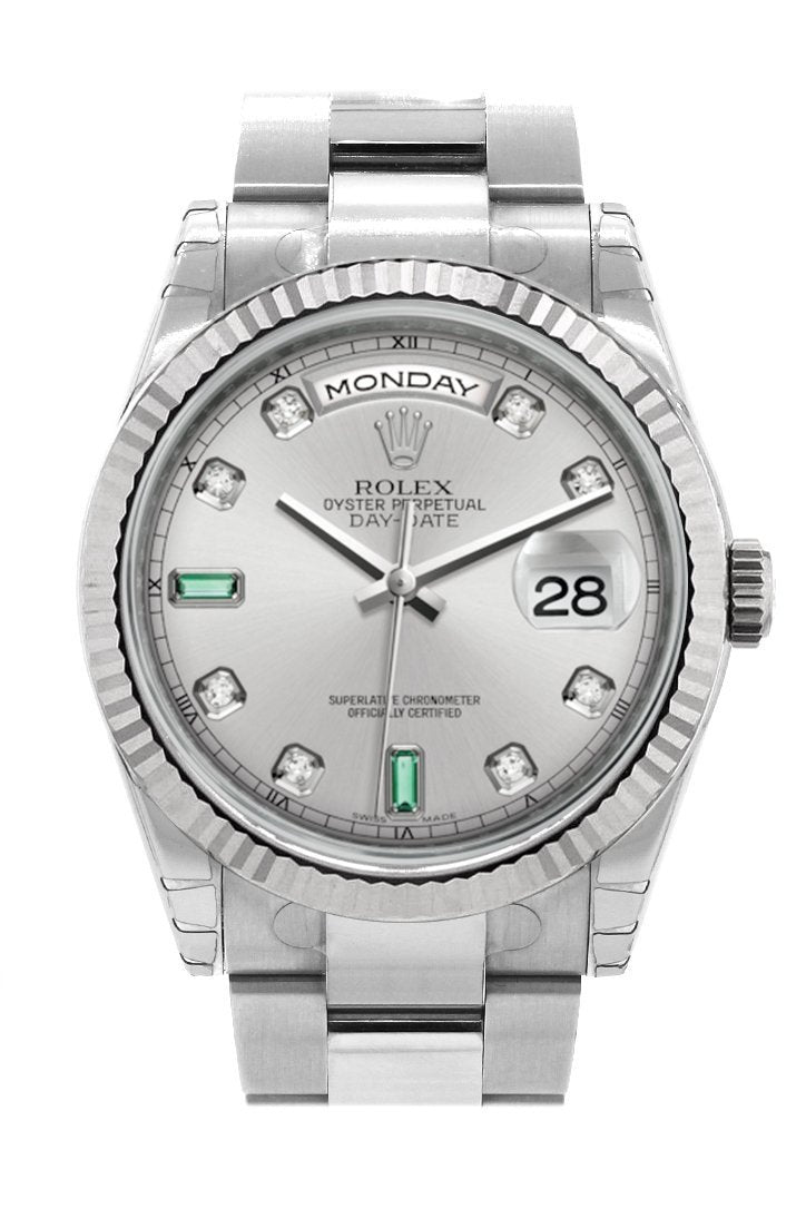 Rolex Day-Date 36 Rhodium Set With Diamonds And Emeralds Dial Fluted Bezel Oyster White Gold Watch