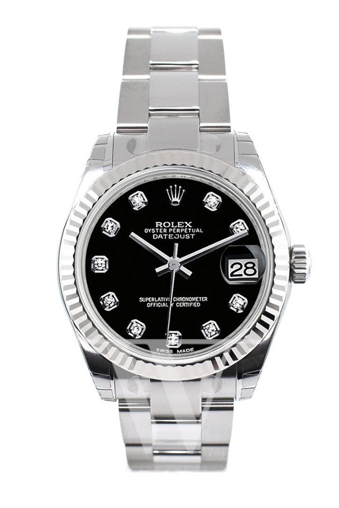 Rolex Datejust 31 Black Diamond Dial Gold Fluted Bezel Ladies Watch 178274