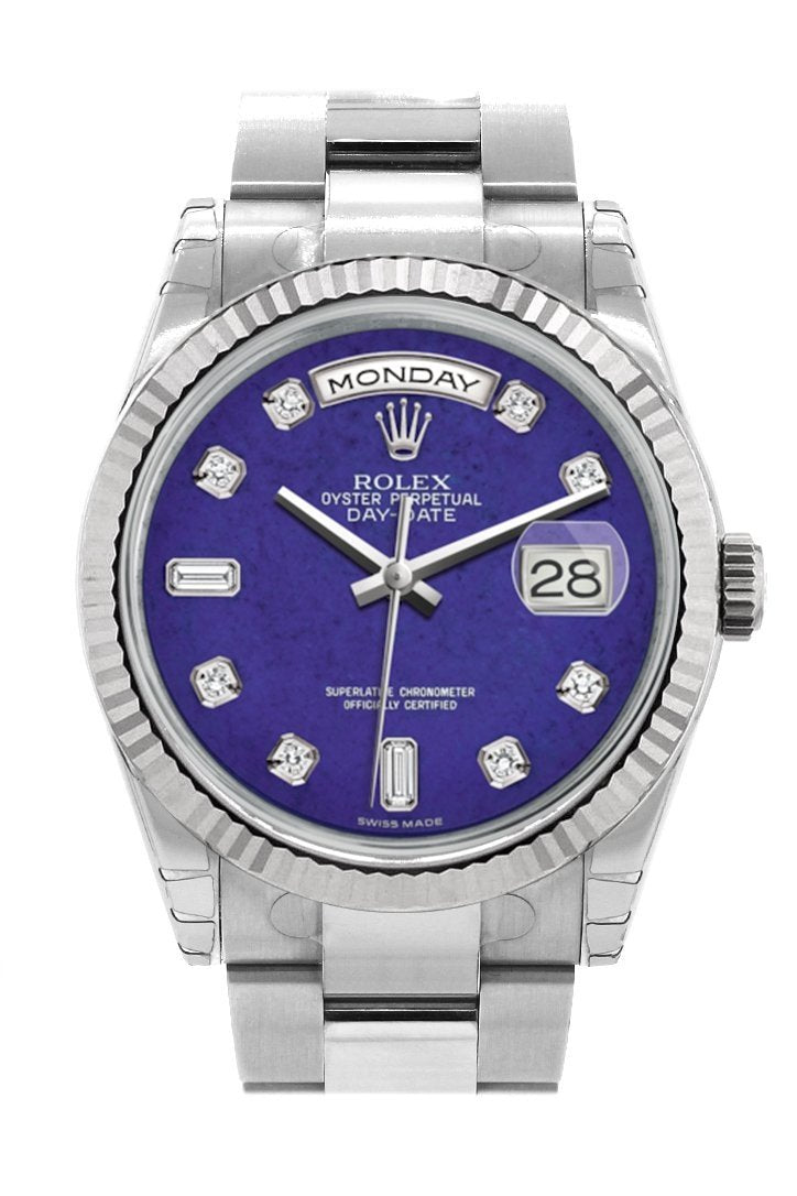 Rolex Day-Date 36 Lapis Lazuli Set With Diamonds Dial Fluted Bezel Oyster White Gold Watch 118239