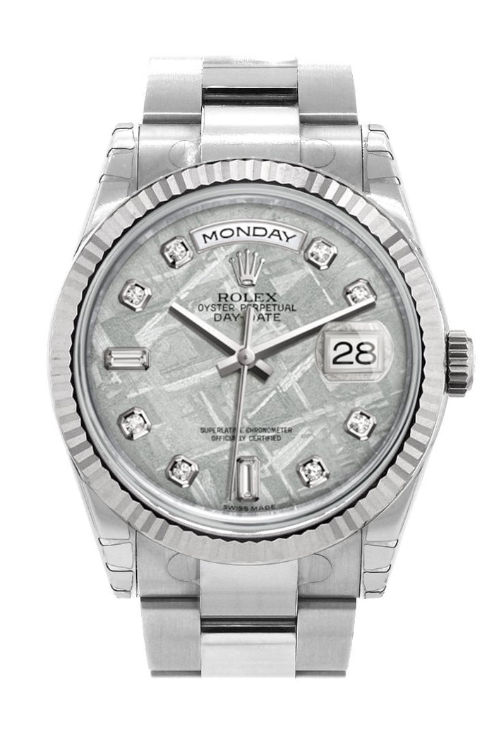Rolex Day-Date 36 Meteorite set with Diamonds Dial Fluted Bezel Oyster White Gold Watch 118239
