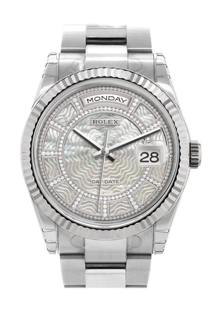 Rolex Day-Date 36 Carousel of white mother-of-pearl Dial Fluted Bezel Oyster White Gold Watch 118239