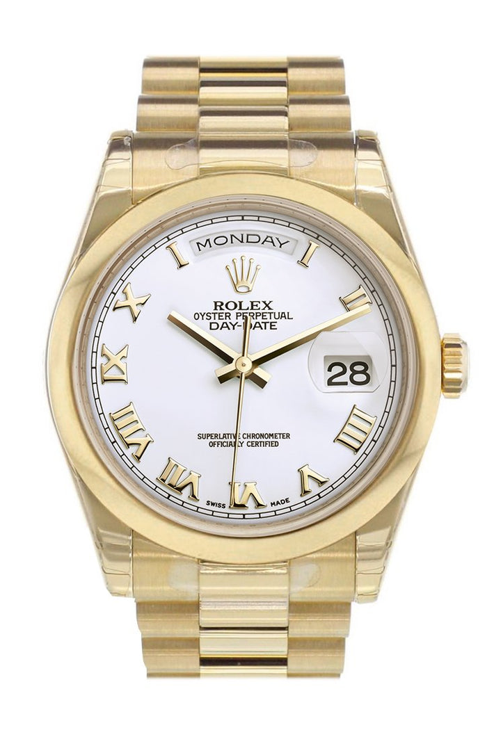 Rolex Day-Date 36 White Roman Dial President Yellow Gold Watch 118208Rolex Day-Date 36 White Roman Dial President Yellow Gold Watch 118208