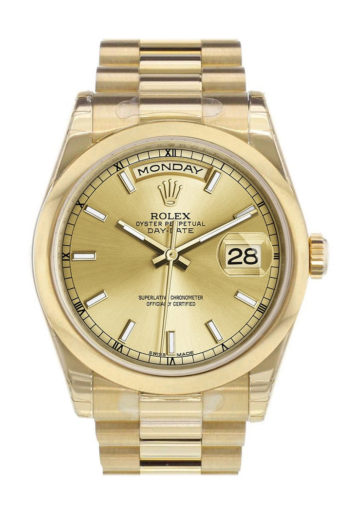 Rolex Day-Date 36 Champagne Dial President Yellow Gold Watch 118208