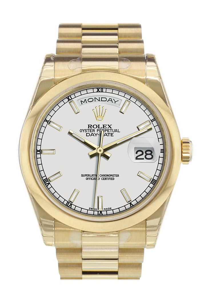 Rolex Day-Date 36 White Dial President Yellow Gold Watch 118208