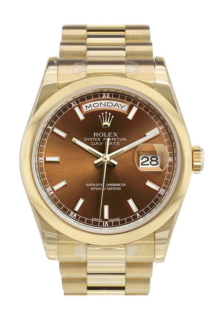 Rolex Day-Date 36 Cognac Dial President Yellow Gold Watch 118208