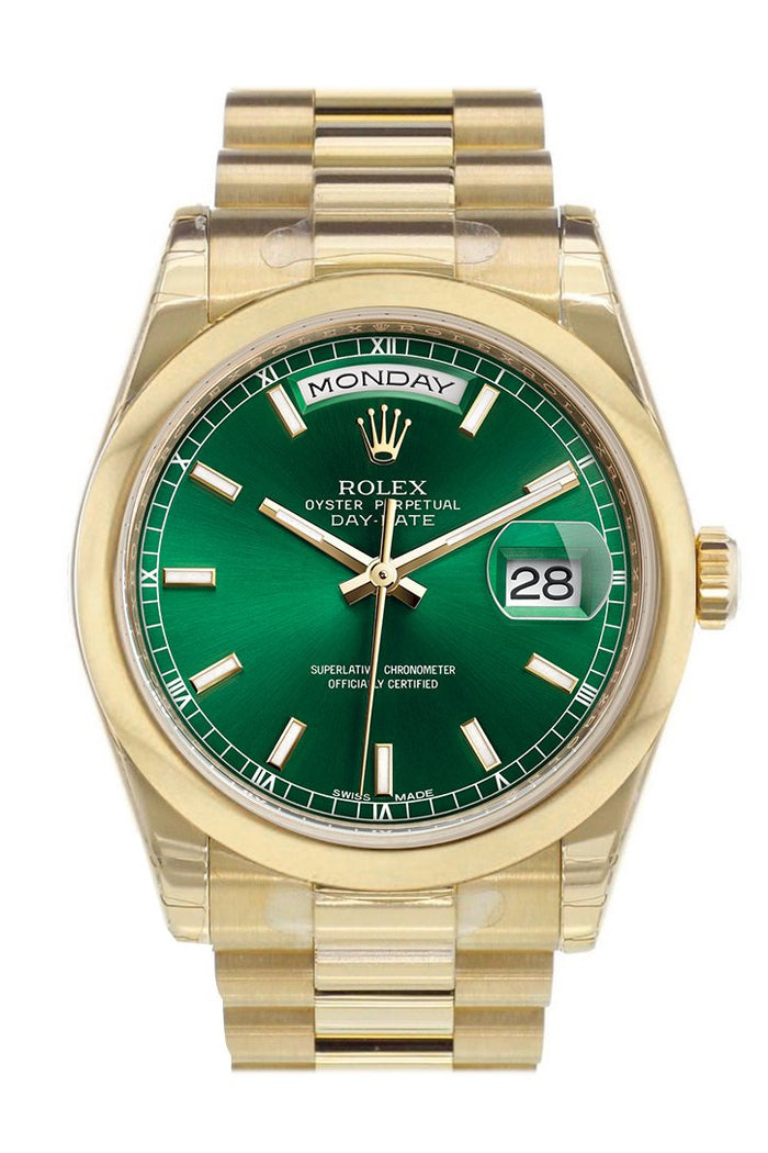 Rolex Day-Date 36 Green Dial President Yellow Gold Watch 118208