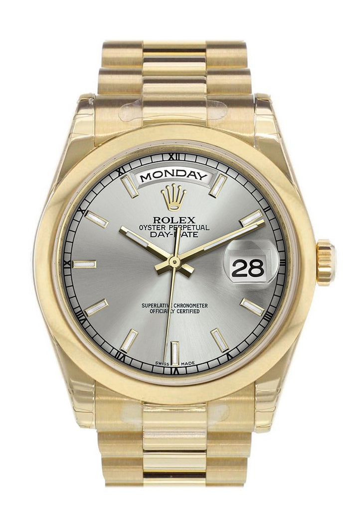 Rolex Day-Date 36 Silver Dial President Yellow Gold Watch 118208
