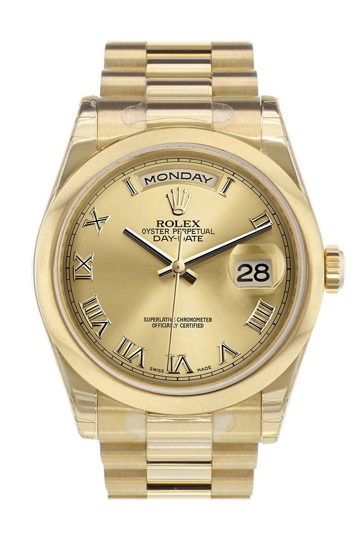 Rolex Day-Date 36 Champagne Roman Dial President Yellow Gold Watch 118208