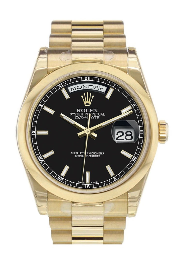 Rolex Day-Date 36 Black Dial President Yellow Gold Watch 118208
