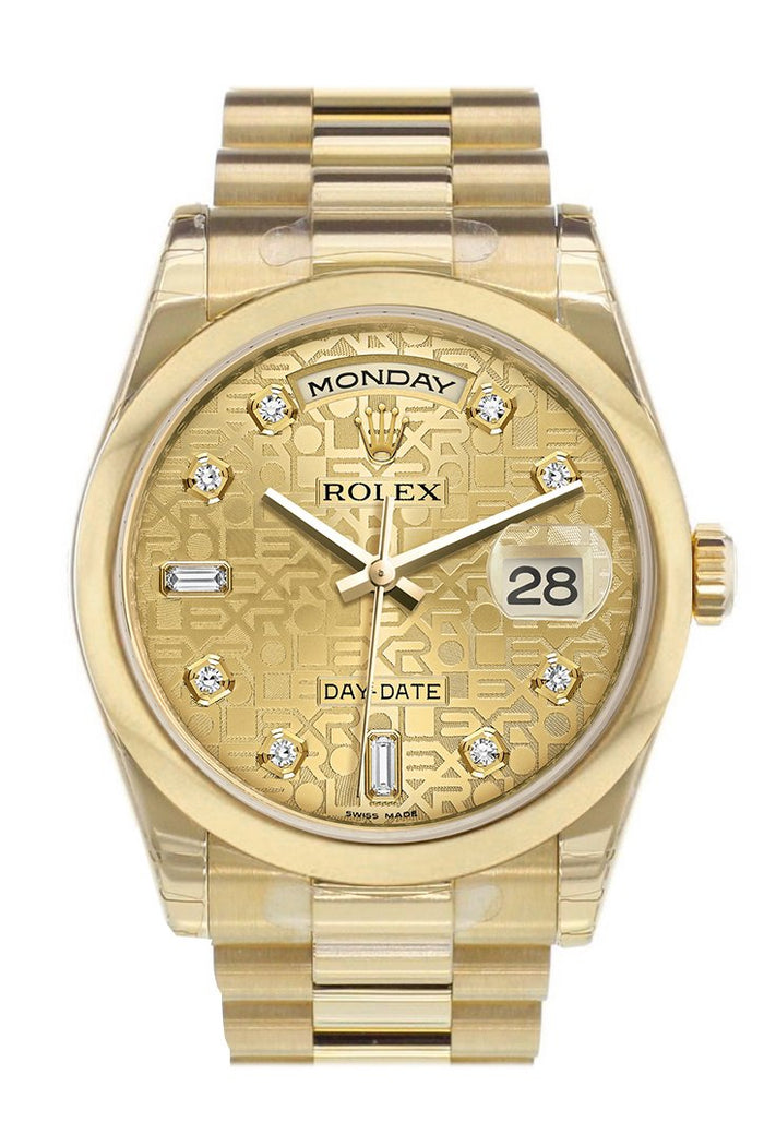 Rolex Day-Date 36 Champagne Jubilee Diamonds Dial President Yellow Gold Watch 118208