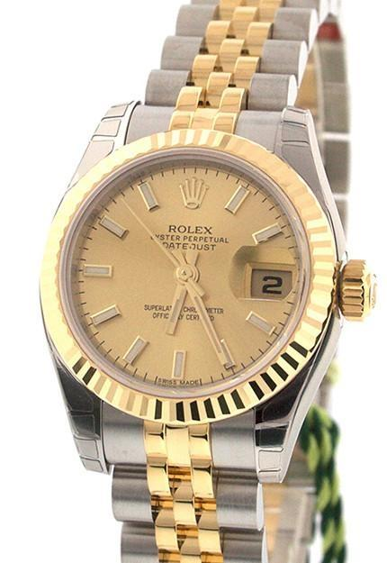 ROLEX Datejust 26 Champagne Dial 18k Yellow Gold and Steel Ladies Watch 179173