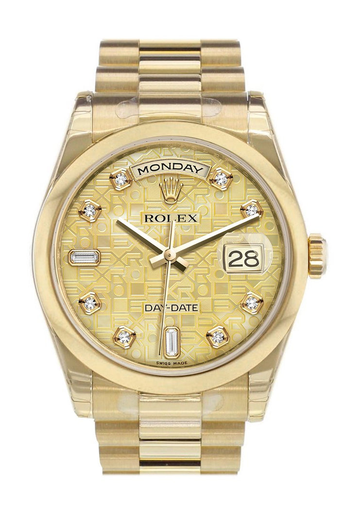 Rolex Day-Date 36 Champagne mother of pearl Jubilee Diamonds Dial President Yellow Gold Watch 118208