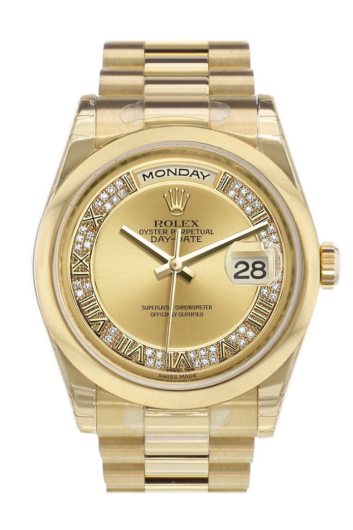 Rolex Day-Date 36 Champagne Diamonds Dial President Yellow Gold Watch 118208