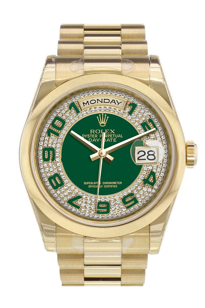 Rolex Day-Date 36 Green Diamonds paved Dial President Yellow Gold Watch 118208
