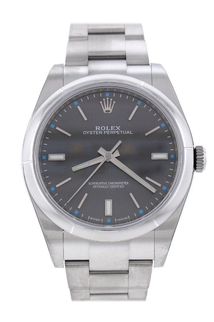 Rolex Oyster Perpetual 39 Rhodium Dial Mens Watch 114300
