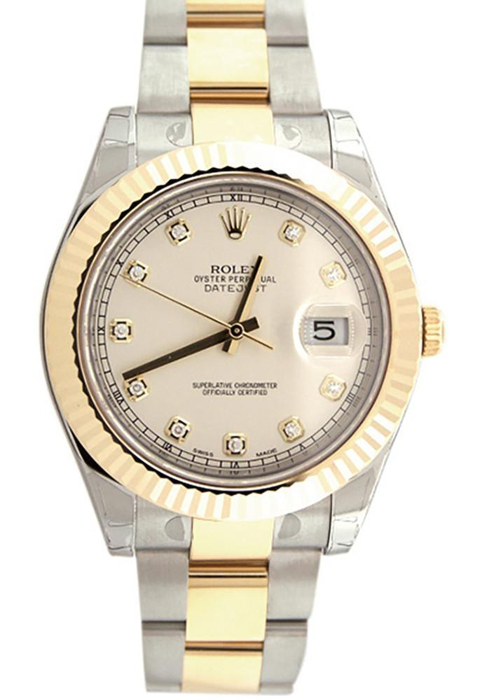 Rolex Datejust Ii 41 Ivory Dial 18K Gold And Steel Mens Watch 116333