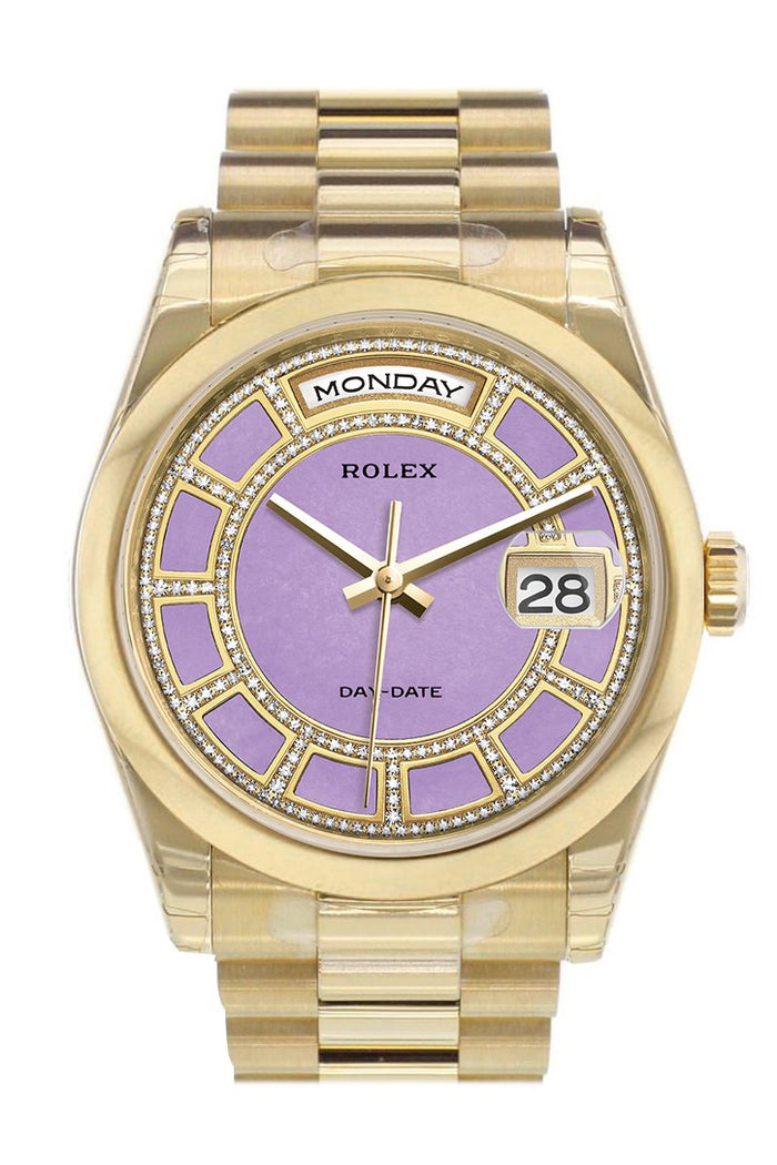 Rolex Day-Date 36 Carousel lavender jade Diamonds Dial President Yellow Gold Watch 118208