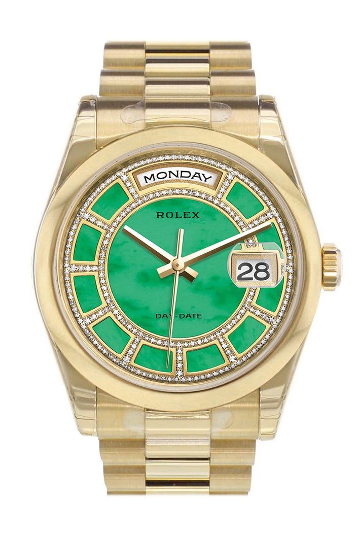 Rolex Day-Date 36 Carousel Green jade Diamonds Dial President Yellow Gold Watch 118208
