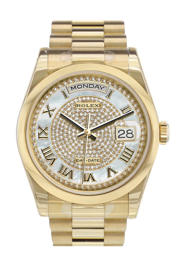 Rolex Day-Date 36 White mother of pearl Diamonds paved Dial President Yellow Gold Watch 118208