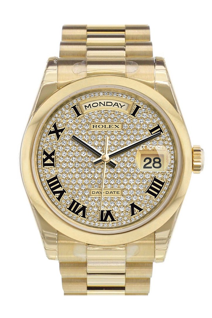 Rolex Day-Date 36 Diamond Paved Dial President Yellow Gold Watch 118208