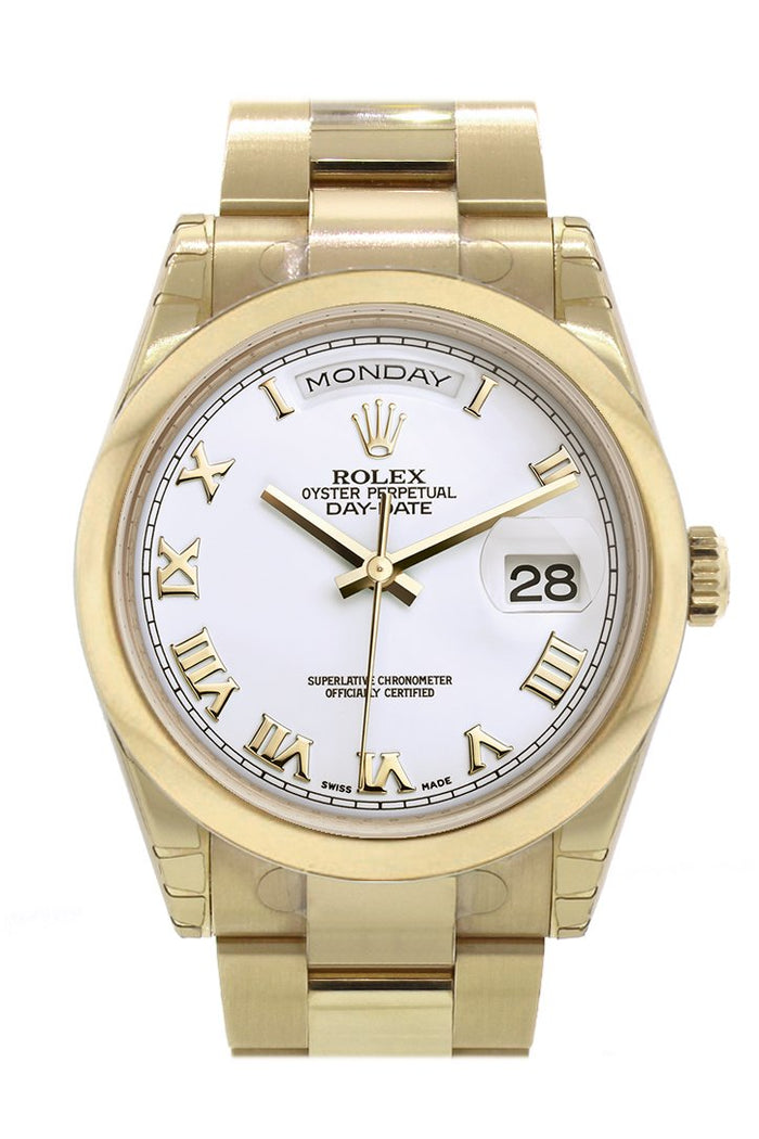 Rolex Day-Date 36 White Roman Dial Yellow Gold Watch 118208