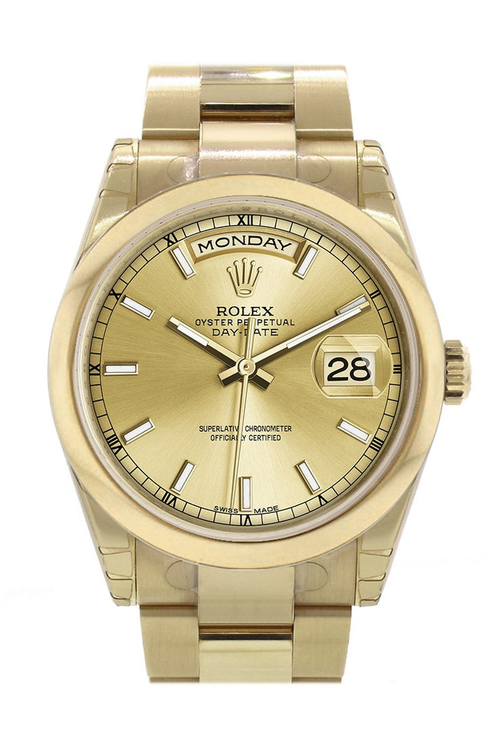 Rolex Day-Date 36 Champagne Dial Yellow Gold Watch 118208