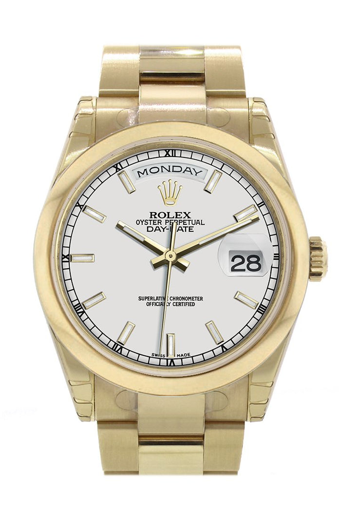 Rolex Day-Date 36 White Dial Yellow Gold Watch 118208