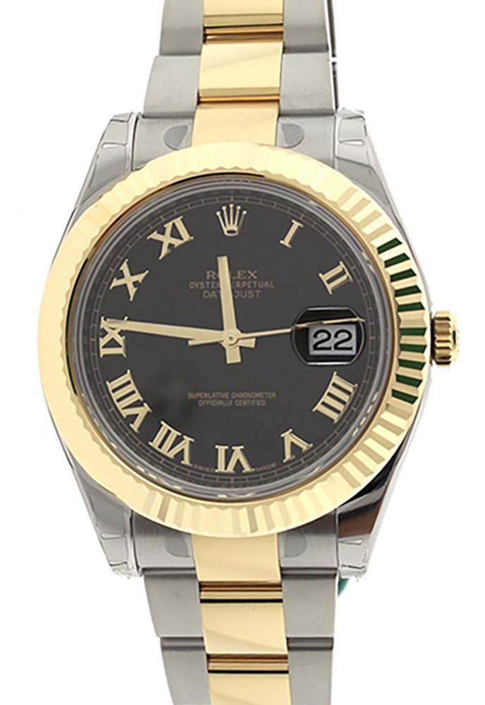 Rolex Datejust Ii 41 Black Roman Dial 18K Gold And Steel Mens Watch 116333